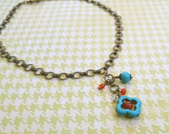 Beauty Gift Turquoise Magnesite, Carnelian and Citrine Gemstones a Gold-Plated Brass Link Chain Necklace