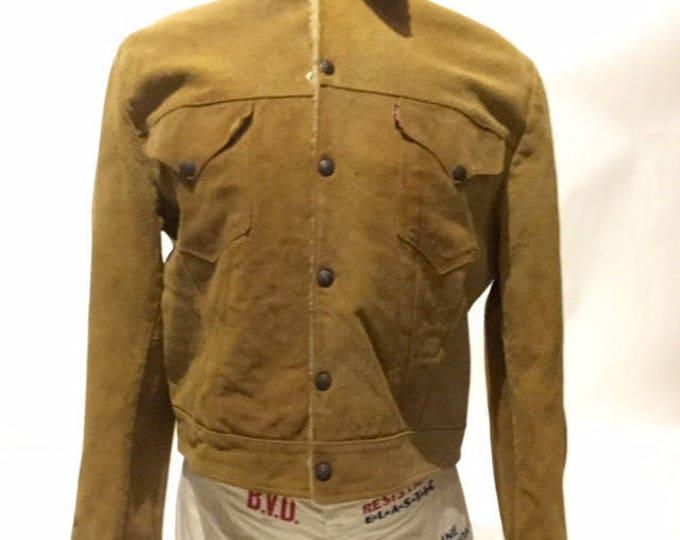 Vintage Levi's Suede Wool Lining Capital E Short Horn Skall Men's 44 50's (DS-Levi-J-2)