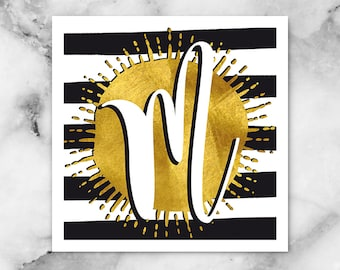 ABC Black/White Stripes-M-poster, print, art print, typography art, Calligraphy, alphabet, initials, letter, letter, letters