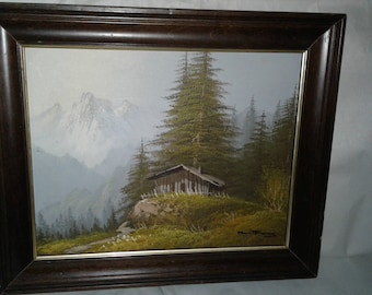 Small Oil on Board/Mountains/Cabin/Trees/Signed