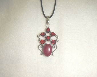 PAY IT FORWARD - Purple jade pendant necklace with garnet accent stones (P053)