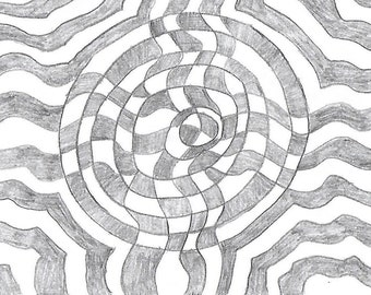 "Original Art Print, ""Mindbend In Pencil"""