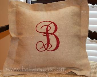 Burlap Pillow Case with Insert, Monogrammed Pillow, Decorative Pillow, Fall Decor