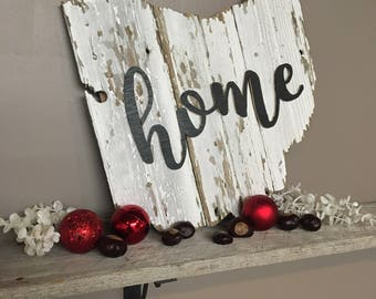 Reclaimed White Barn Wood w/ Script Home - Ohio Barnwood Sign - Chippy Wood -
