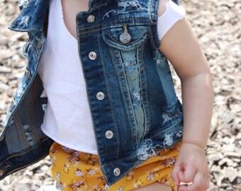 Baby / toddler girl / boy hand - distressed denim vest / jacket , cool kids , hipster kids wear , custom denim , jean vest , children
