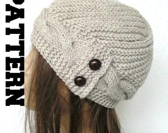 DIY winter knitting  Pattern Knit hat  Digital  Knitting PATTERN PDF Women  Cable Knit hat  Pattern Victorian Style  Cloche Hat Knit Pattern
