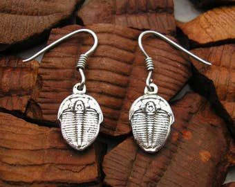 Silver Trilobite Earrings , Hand Made Solid Silver