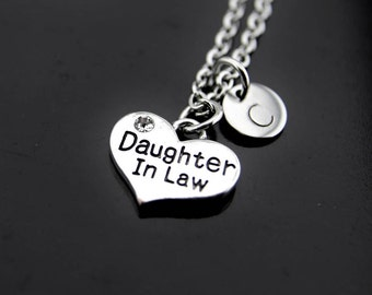 Daughter in Law Gifts, Daughter in Law Necklace, Daughter Necklace, Daughter in Law Charms, Personalized Necklace, Initial Necklace