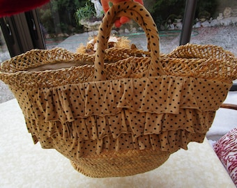 large straw and cotton tote bag beige dots