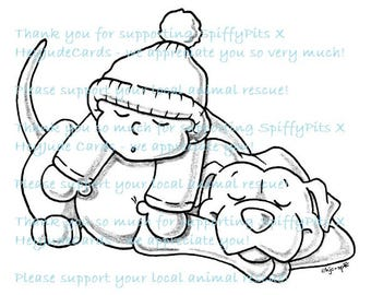 Digital Stamp or Coloring Page - Pitbull and Kid Sleeping - A portion of every sale to RESCUES!!!