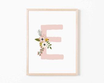 Blush Bloom E Nursery Art. Nursery Wall Art. Nursery Prints. Nursery Decor. Girl Wall Art. Personalized Wall Art. Monogram Art. Floral Art.
