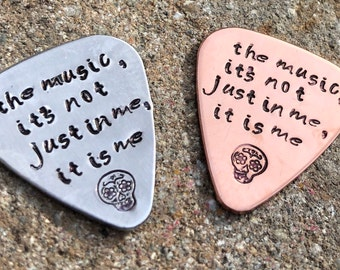 The Music Its Not Just In Me It Is Me, Coco, Handstmped Guitar Pick, Music Gift, Dias De Los Muertos, Day Of The Dead,