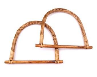 Pair bambou bag handles