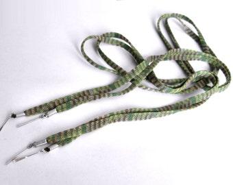 "THE SHOELACES SHOP-Green & Yellow Striped Shoe Laces, Ribbon Shoelaces, Cotton Shoelaces, Green Shoelaces, Shoestrings, ""Alien Landing"""