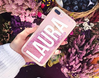 iphone 8 personalised glitter case