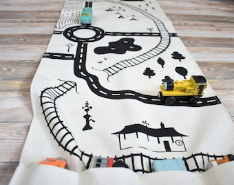 Large Road and Train Playmat