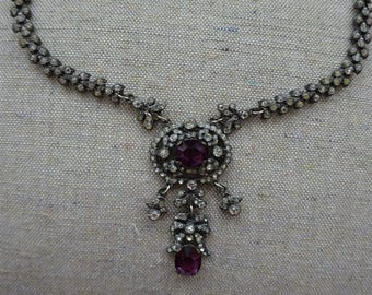 EXQUISITE Antique French Paste Necklace with Purple Glass Stones