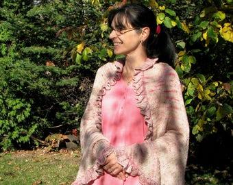 PDF knitting pattern THE ROMANTIC shawl ruffled wrap