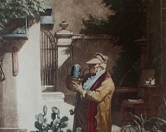 CARL SPITZWEG Vintage Colored Copperplate Etching Artist Painting The Cactus Lover GERMANY