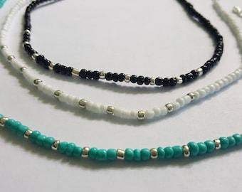 Seed bead choker, Seed glass beaded choker, Black white turquoise seed bead choker, Tiny bead choker