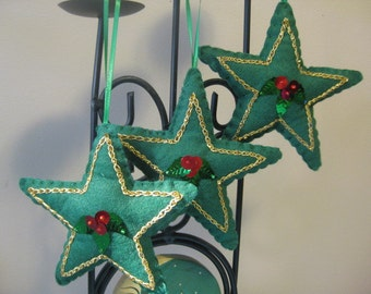 Green Felt Christmas Star Ornaments