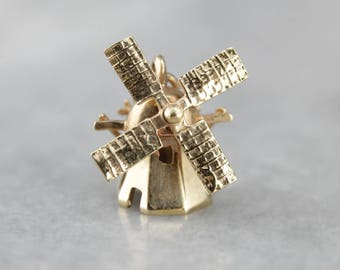 Working, Moving 3D Windmill Gold Charm or Pendant H97HEJ