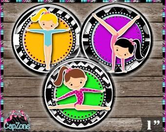 """Little Gymnast, Gymnastics 433 - INSTANT DIGITAL DOWNLOAD - 1"""" Bottlecap Button Badge Images (4x6) Digital Collage Sheet"""