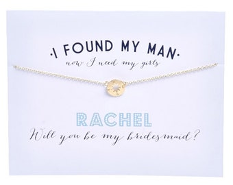 Bridesmaid Greeting Card with Compass Charm Necklace - Bridesmaid Proposal - Ask Bridesmaid - Bridesmaid Card