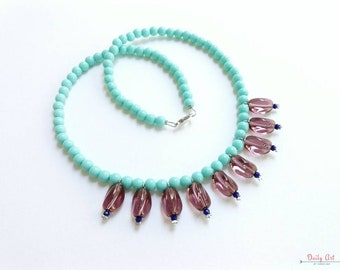 Bohemian, colorful, necklace, aqua, purple