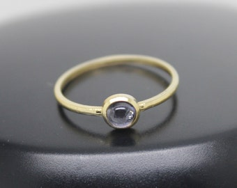Iolite Ring, 18k Solid Gold Ring, Thin Gold Ring, Stacking Ring, Stackable Ring, Purple Stone Ring