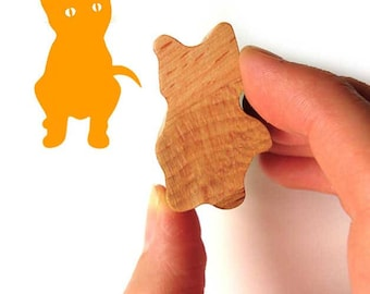 Cat Stamp, Kitten Rubber Stamp for Cat Lover Gift, Wood Handle