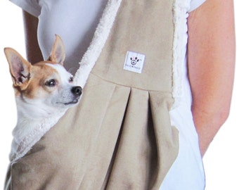 Dog Sling - Tan Micro-suede lined with soft sherpa