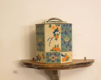 Octagon -Tin, lidded vintage, flower decor w/ free ship