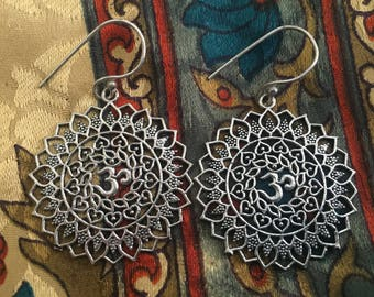 ॐOm Mandala Earrings. Drop Earrings. Spiritual Jewelry. Om Earrings. Mandala Earrings ॐ
