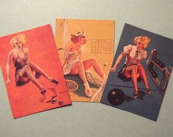 3-PINUP GIRLS MAGNETS Gil Elvgren PinUp Girls Refrigerator Magnets Great Gift Idea