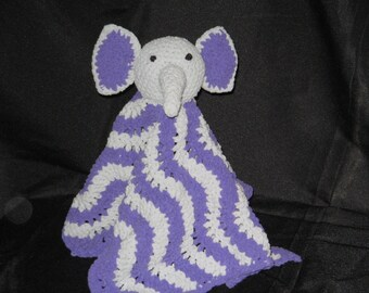 Super Soft Crochet Grey and Purple Elephant Lovey Blankie