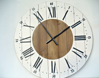 Large Wall Clock 24 Inch Wall Clock Wall Decor Rustic Kitchen Decor Wall  Clocks Big Wall