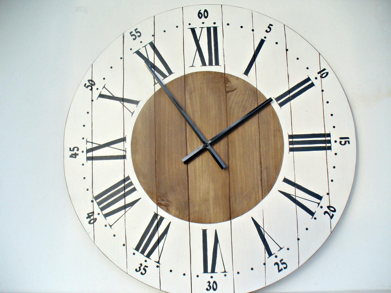Large Wall Clock 24 Inch Wall Clock Wall Decor Rustic Kitchen