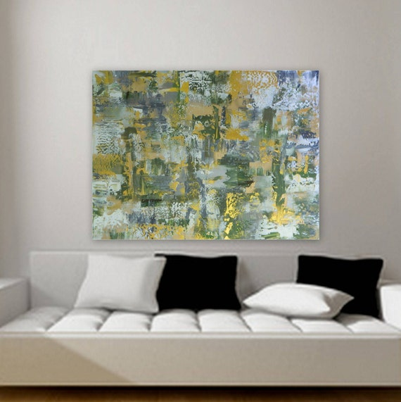 Large abstract painting by Marcy Chapman 48 x 36 in green, gold, tan/ beige, white