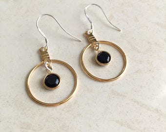 Dangle Earrings, Gold Earrings, Silver Earrings, Black, Onyx Earrings, Bridesmaids, Sterling Silver, Mixed Metal, Girls Jewelry, Small