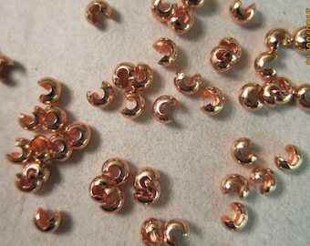4mm, Copper Plated (over Brass) Crimp Covers - Available in 50, 100 & 200 Crimp Pkgs and also in Larger Pkgs!
