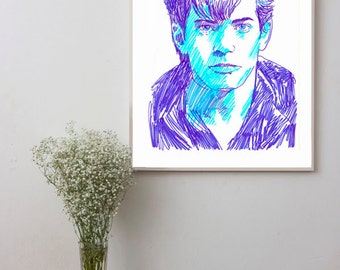 Robert Mapplethorpe portrait, Photograpehr Wall Decor, Wall art, Original painting Print, Poster, artwork, pop art portrait, Wall Art Print