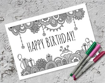 Happy Birthday Colouring Page & Folded Birthday Card | Instant Digital Download | Original Doodle Design