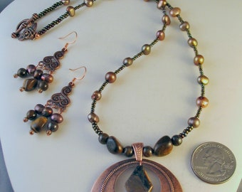 Copper Pendant with Bronze Fresh Water Pearls and Czech Glass Beads