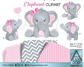 Girl Elephant shower, baby elephant, elephants clip art, png file, comm use, baby shower, birthday, create t-shirt,invitation,design