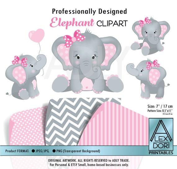 Baby Elephant Clip Art Baby Shower Girl Elephant shower b...