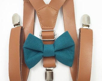 FREE DOMESTIC SHIPPING! 1 inch light brown faux leather suspenders and teal bow tie wedding pictures birthday formal