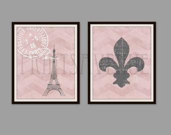 PARIS Art Print, EIFFEL Tower Wall Art, FLEUR De Lis Art Print, Pink and Gray, 8x10, by Prints Avenue