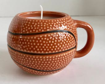 Coconut Scented Soy Wax Candle in Ceramic Basketball Mug