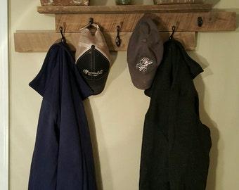 Rustic Barnwood Coat Shelf with Hooks